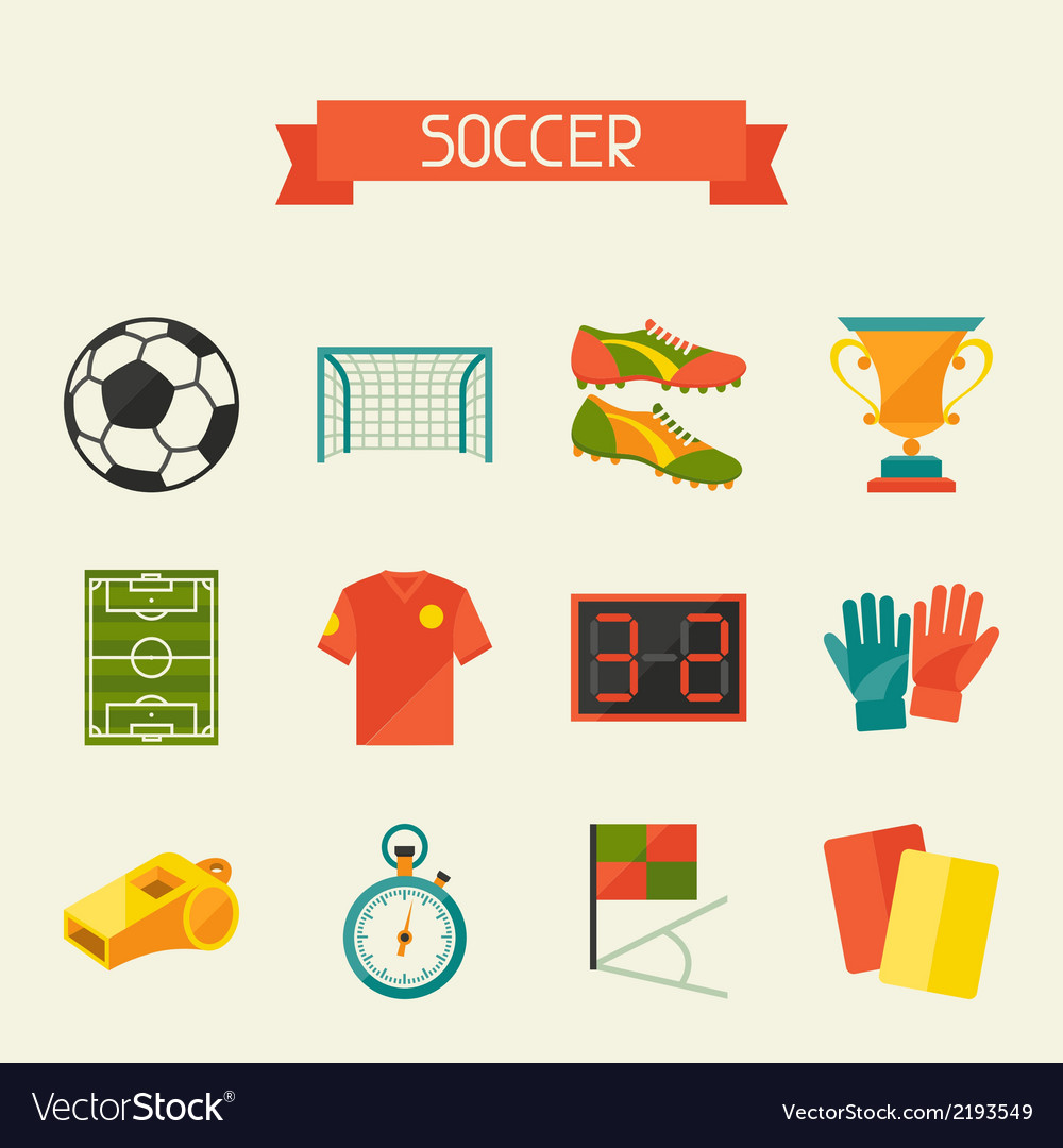 Soccer football icon set in flat design style vector | Price: 1 Credit (USD $1)