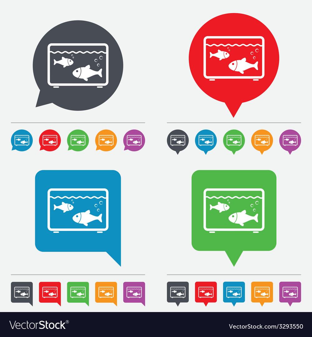 Aquarium sign icon fish in water symbol vector | Price: 1 Credit (USD $1)