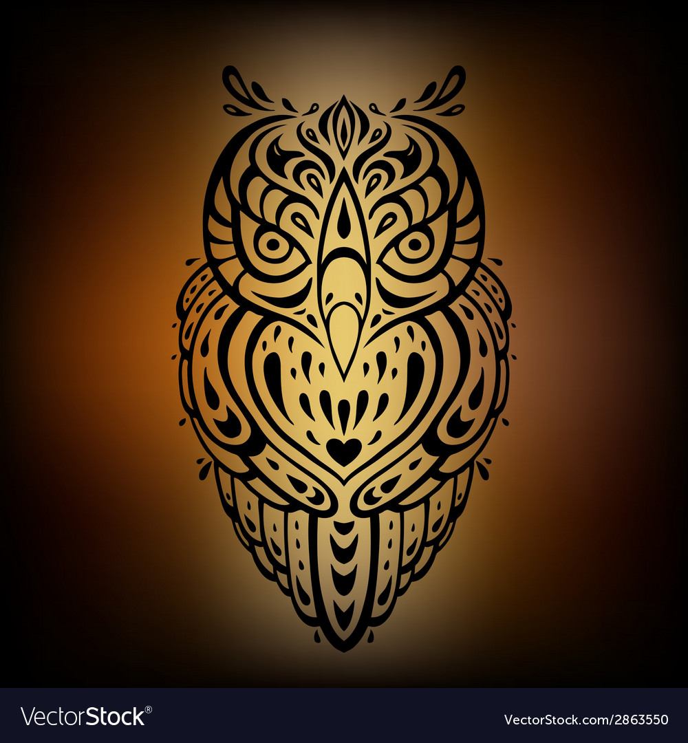 Decorative owl ethnic pattern vector | Price: 1 Credit (USD $1)