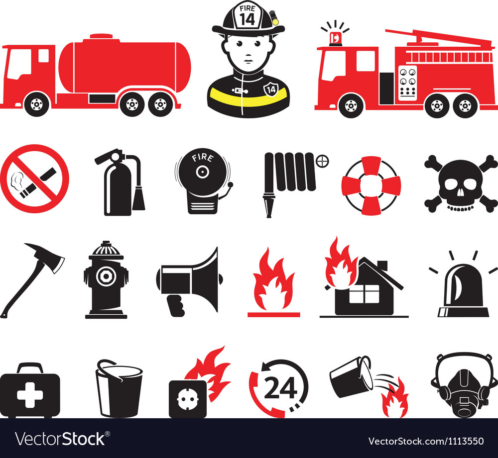 Fire department icons vector | Price: 1 Credit (USD $1)