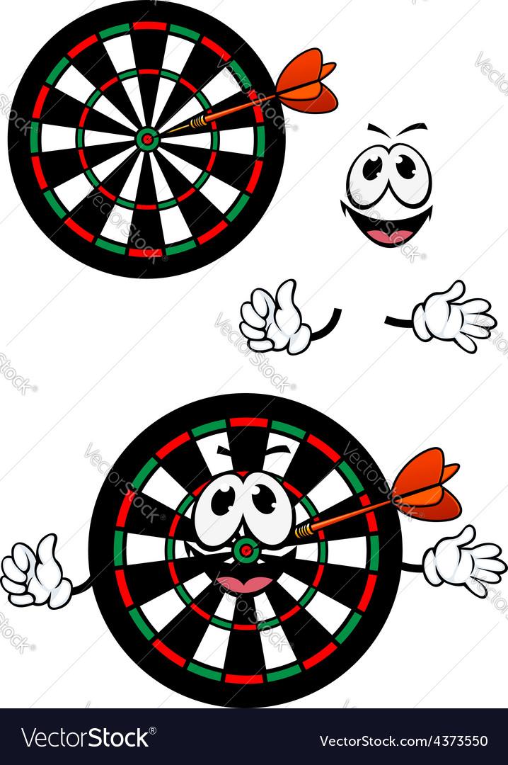 Happy cartoon colorful darts target character vector   Price: 1 Credit (USD $1)