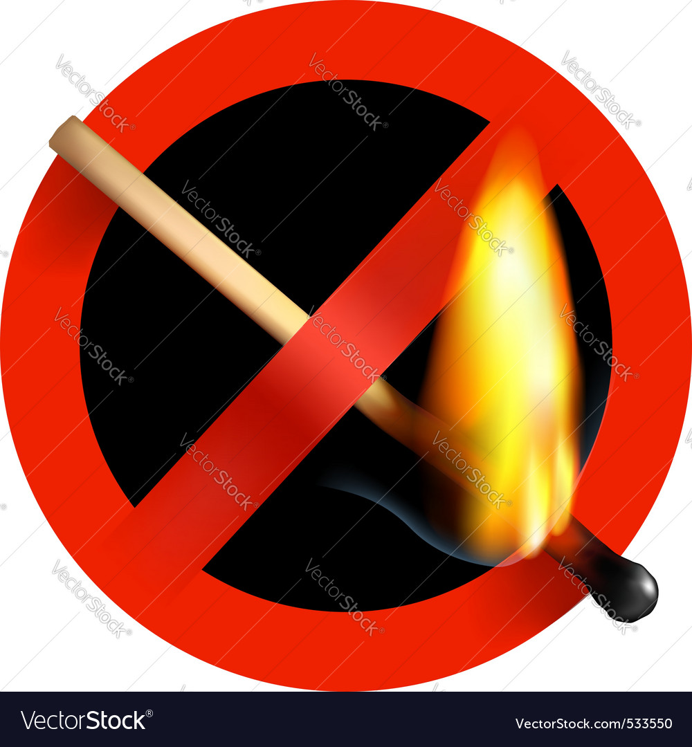 No matchstick fire sign vector | Price: 1 Credit (USD $1)