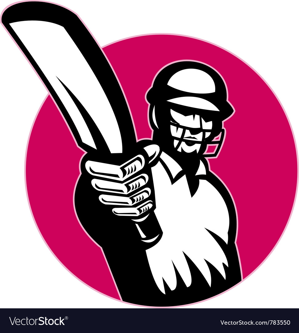 Retro cricket icon vector | Price: 1 Credit (USD $1)