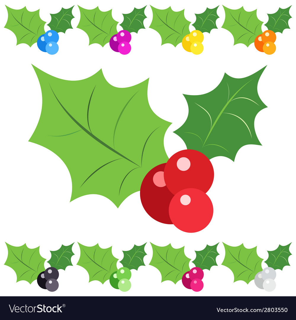 Set of holly berry sprig icons isolated on white vector | Price: 1 Credit (USD $1)