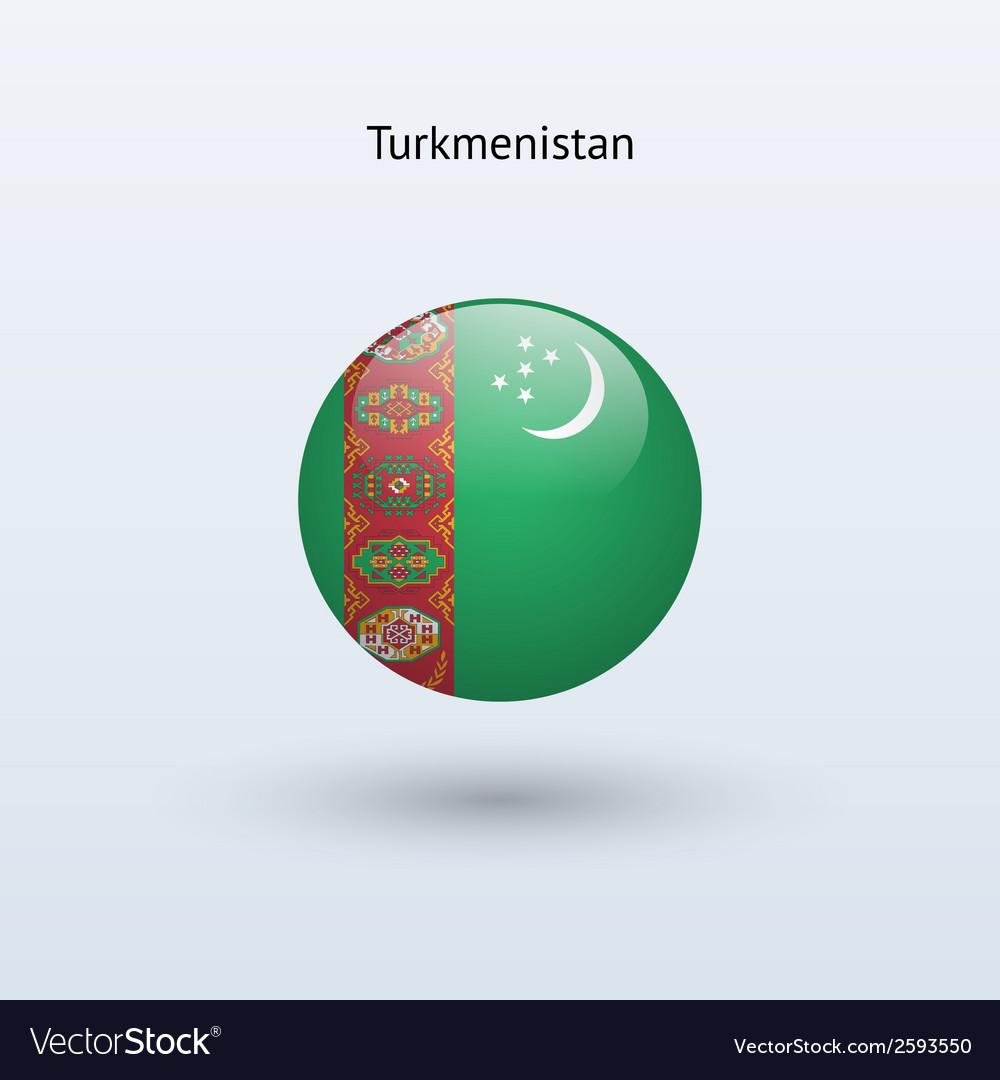 Turkmenistan round flag vector   Price: 1 Credit (USD $1)