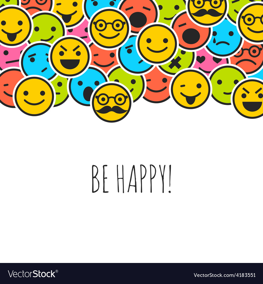 Background with color emoticons and place for text vector | Price: 1 Credit (USD $1)