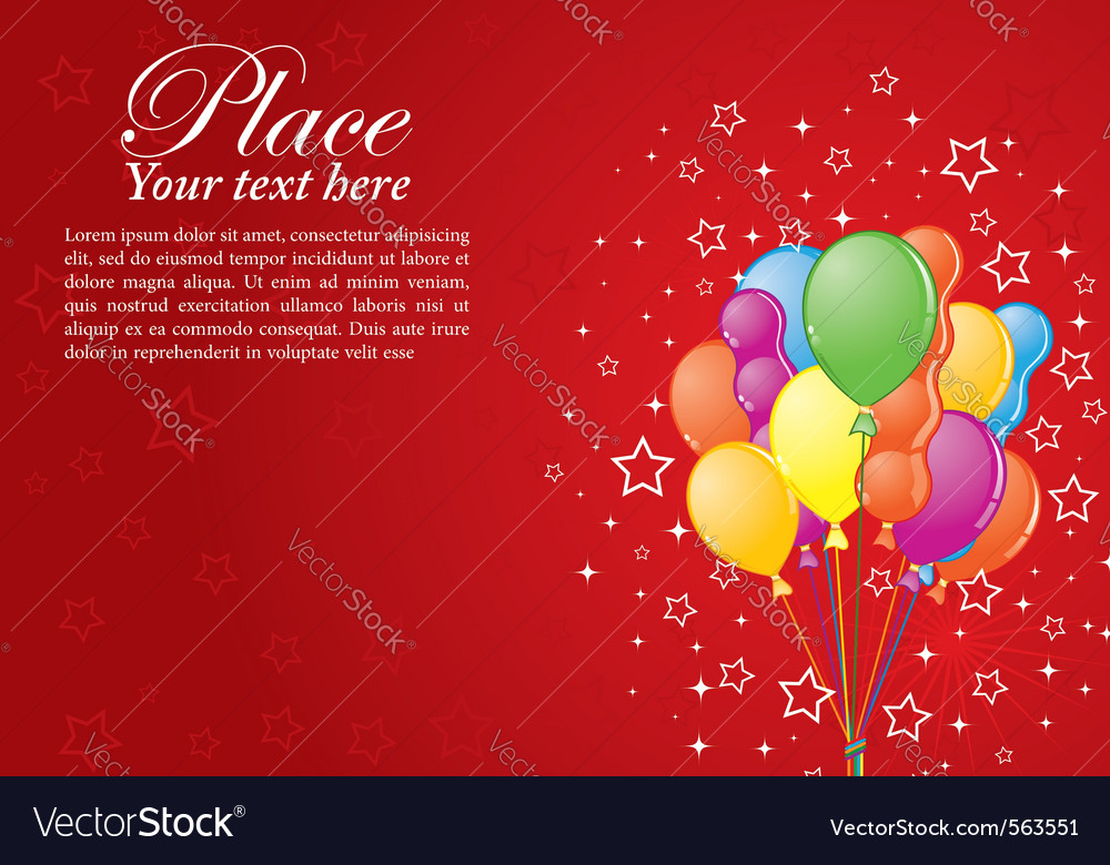 Birthday background with balloons vector | Price: 1 Credit (USD $1)