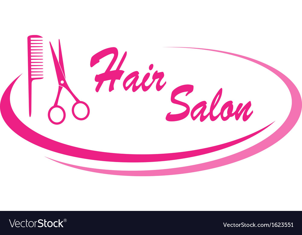 Hair salon sign with design elements vector | Price: 1 Credit (USD $1)