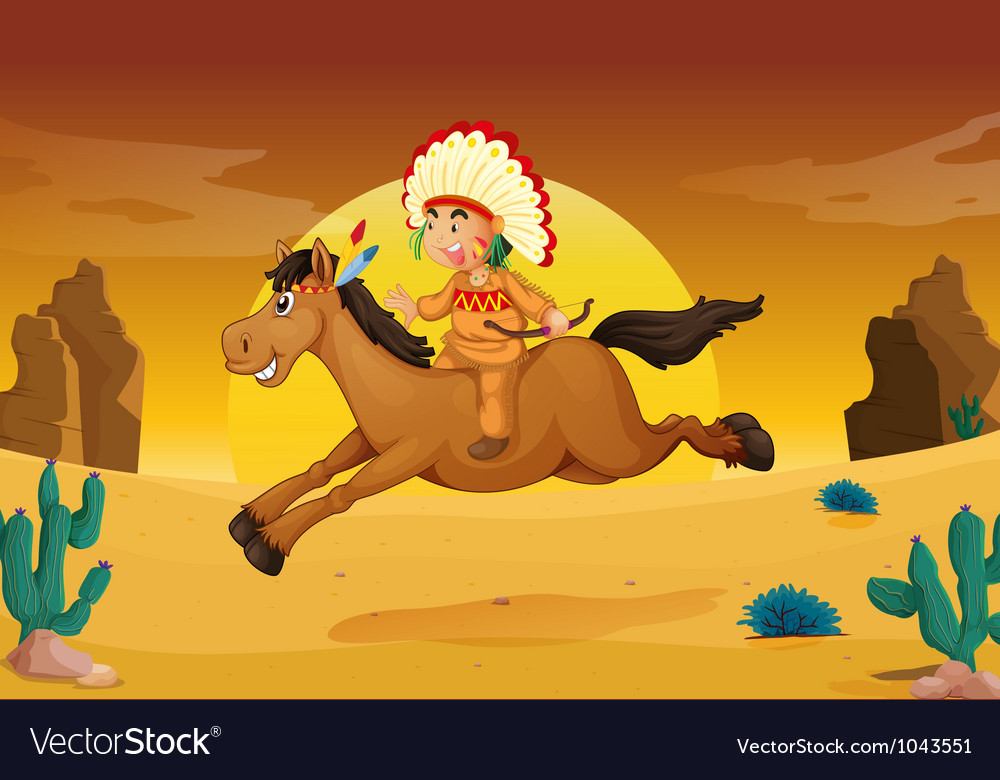 Man and horse vector | Price: 3 Credit (USD $3)