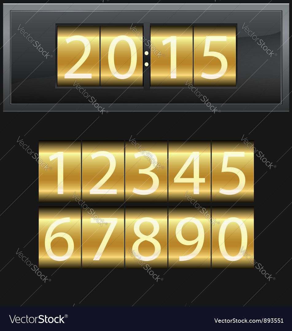 Number set from 1 to 9 digital clock gold vector | Price: 1 Credit (USD $1)