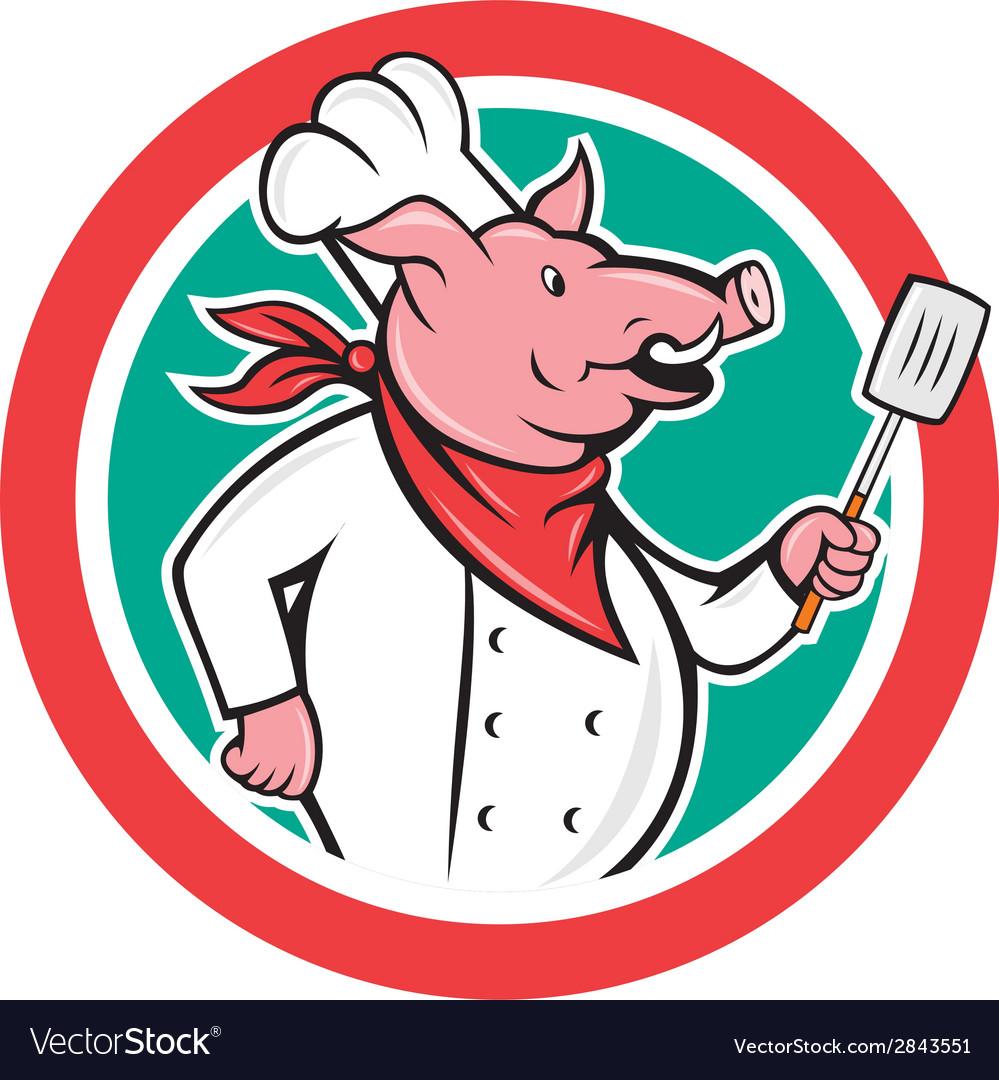 Pig chef cook holding spatula circle cartoon vector | Price: 1 Credit (USD $1)