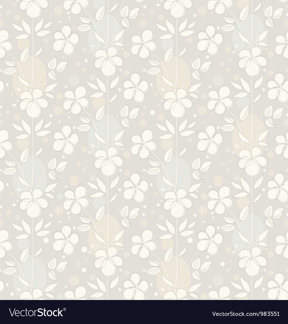 Seamless background with decorative flowers vector | Price: 1 Credit (USD $1)