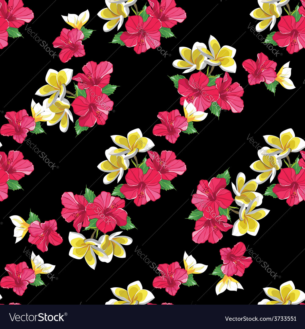 Seamless floral pattern with tropical flowers vector | Price: 1 Credit (USD $1)