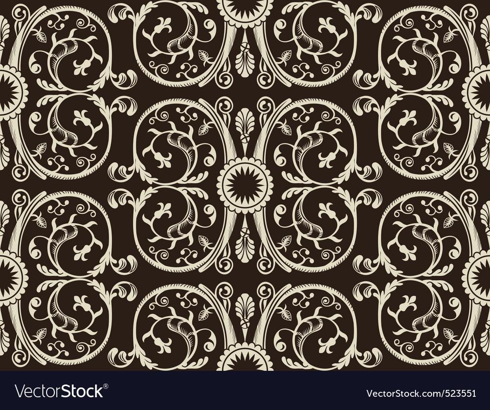 Seamless vintage heraldic wallpaper black backgrou vector | Price: 1 Credit (USD $1)