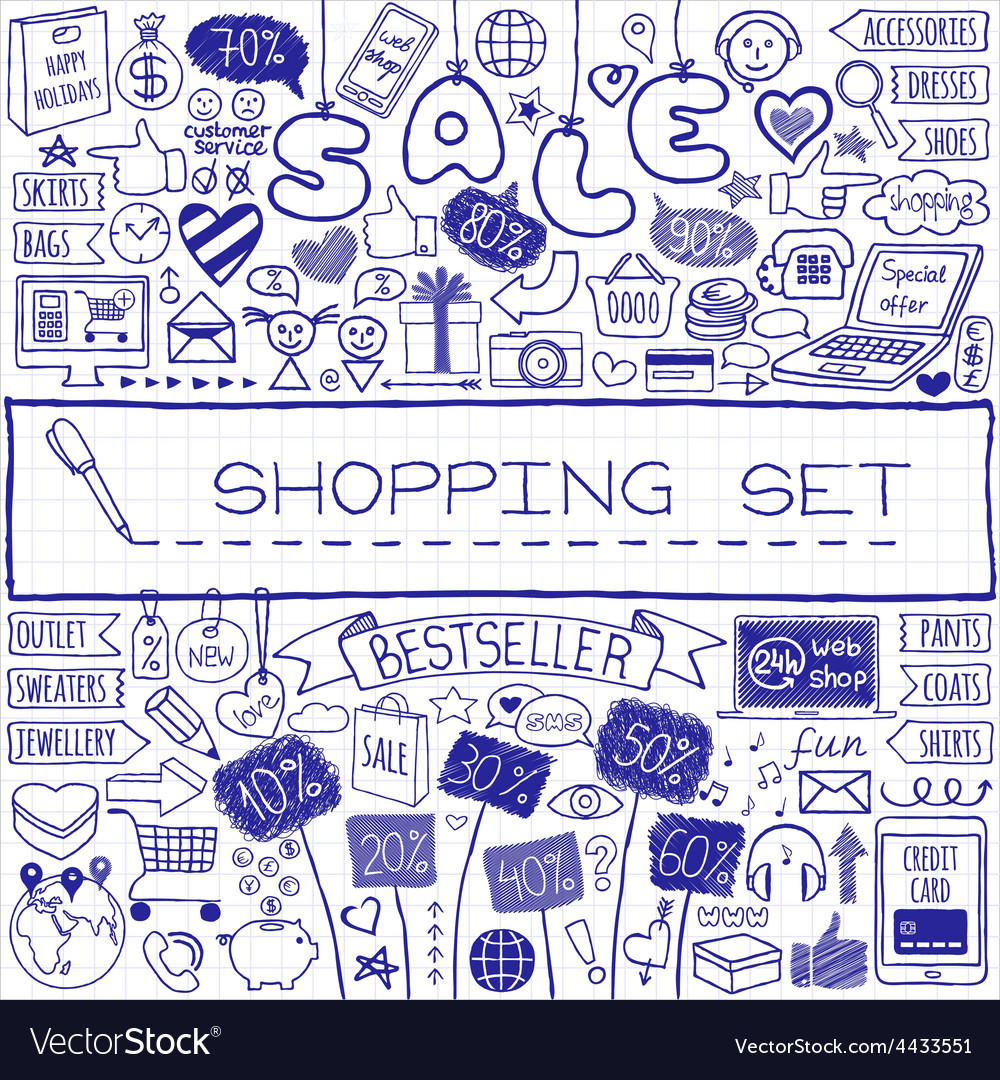 Shopping doodle set vector | Price: 1 Credit (USD $1)