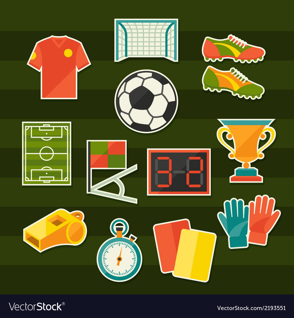 Soccer football sticker icon set in flat design vector | Price: 1 Credit (USD $1)