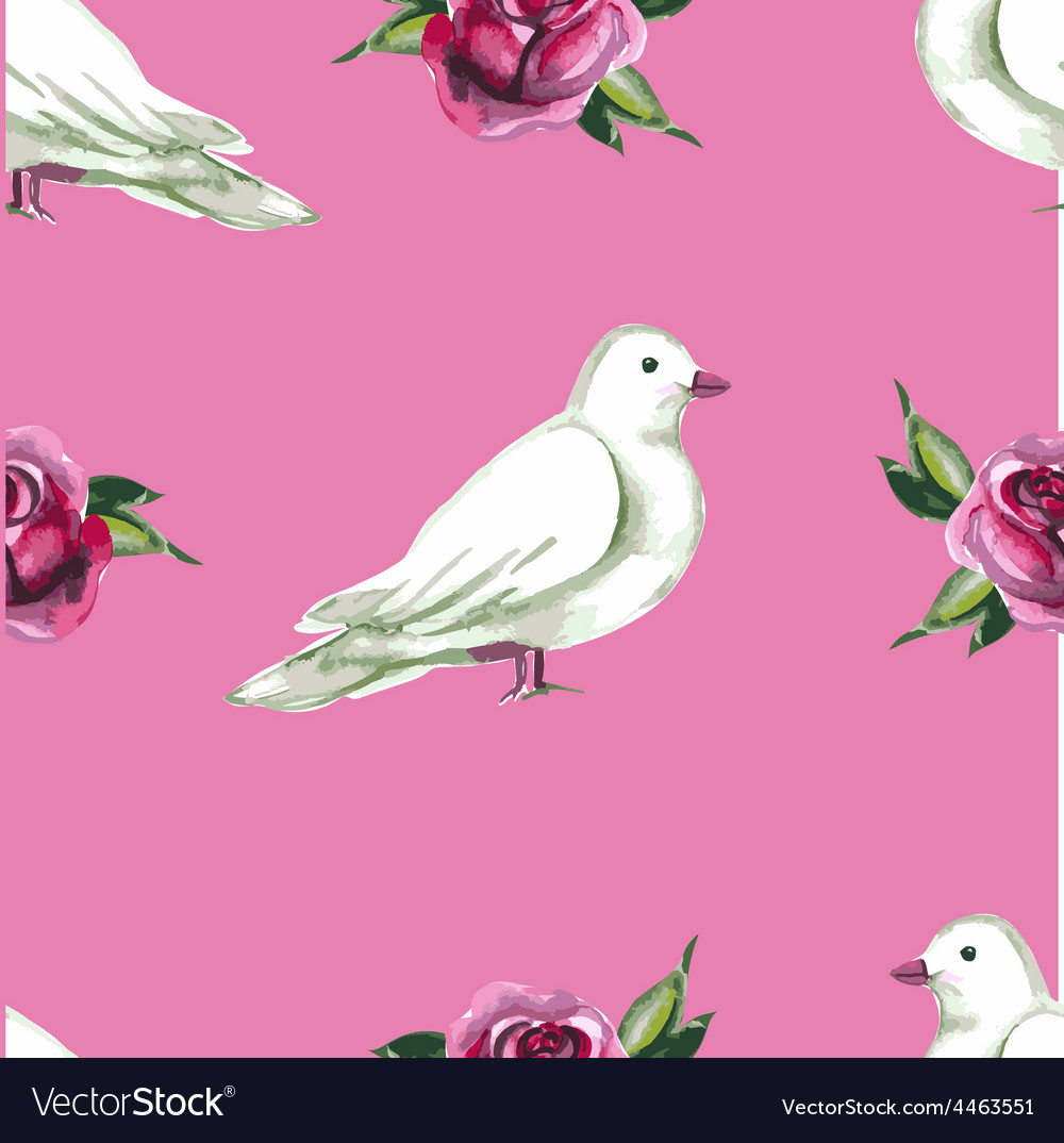 Watercolor seamless pattern with white doves vector   Price: 1 Credit (USD $1)