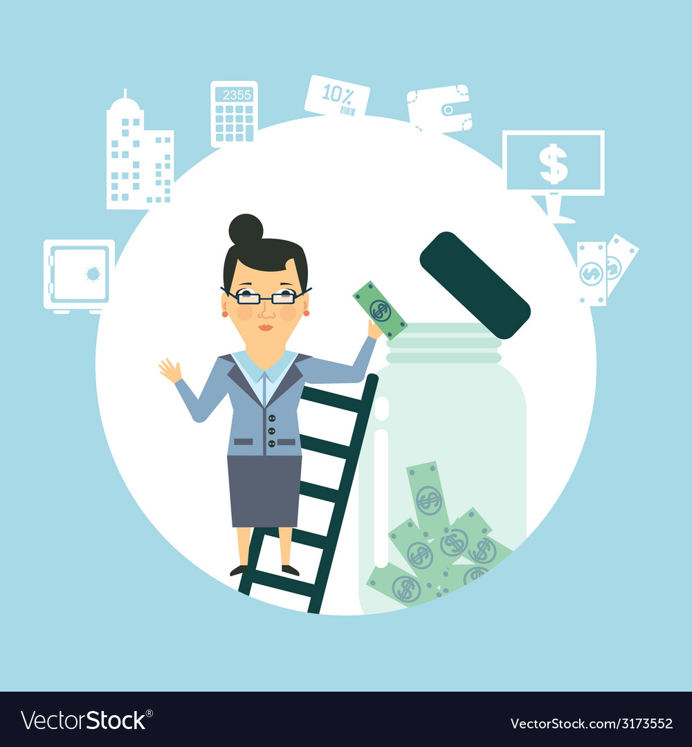 Bank employee to keep money in the glass jar vector | Price: 1 Credit (USD $1)