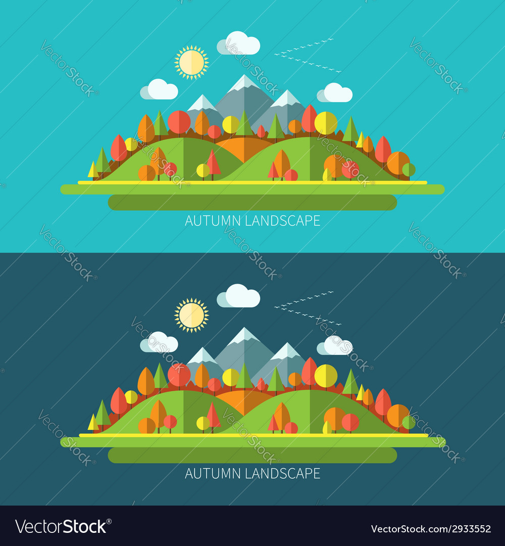 Flat design autumn nature landscape vector | Price: 1 Credit (USD $1)