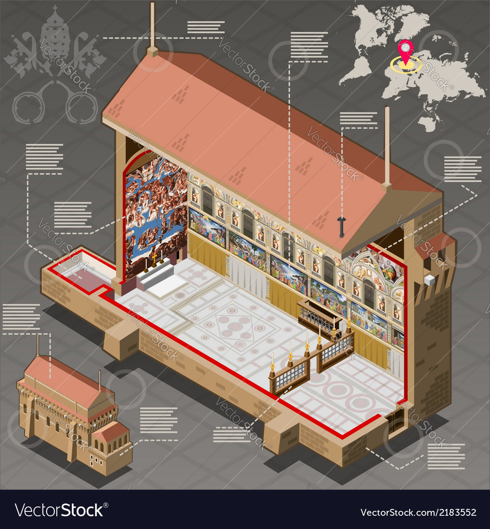 Isometric infographic of sistina chapel of vatican vector | Price: 1 Credit (USD $1)
