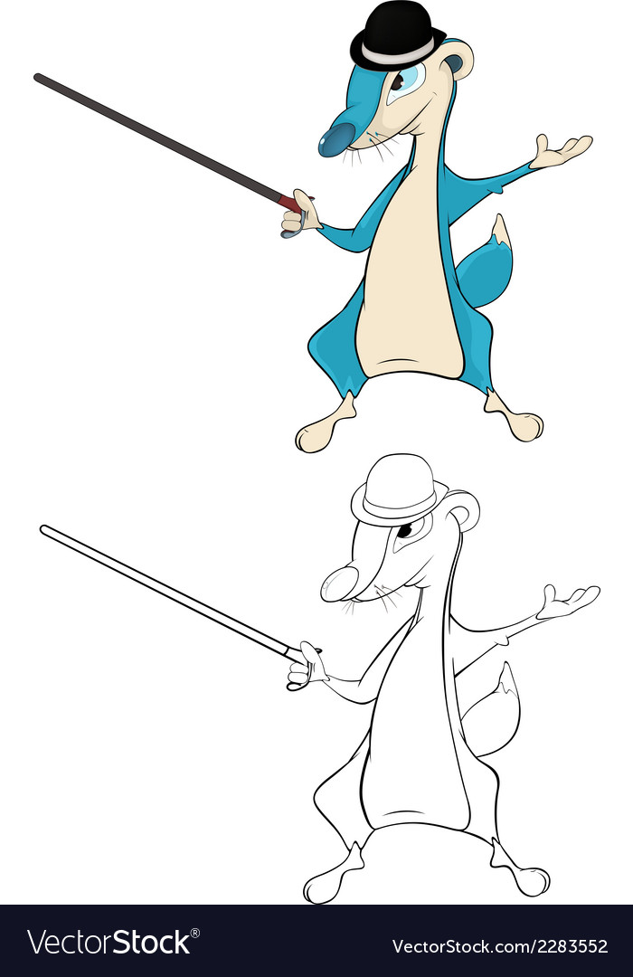 Mongoose with a walking stick cartoon vector | Price: 1 Credit (USD $1)