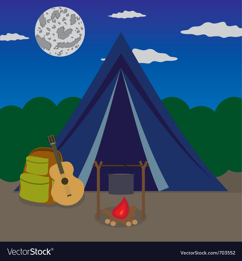 Night camping vector | Price: 1 Credit (USD $1)