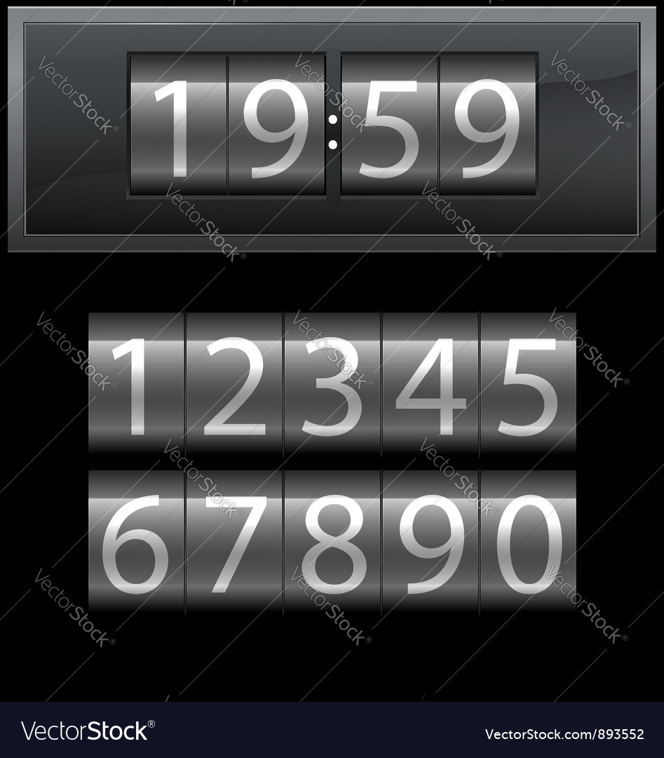 Number set from 1 to 9 digital clock dark vector | Price: 1 Credit (USD $1)