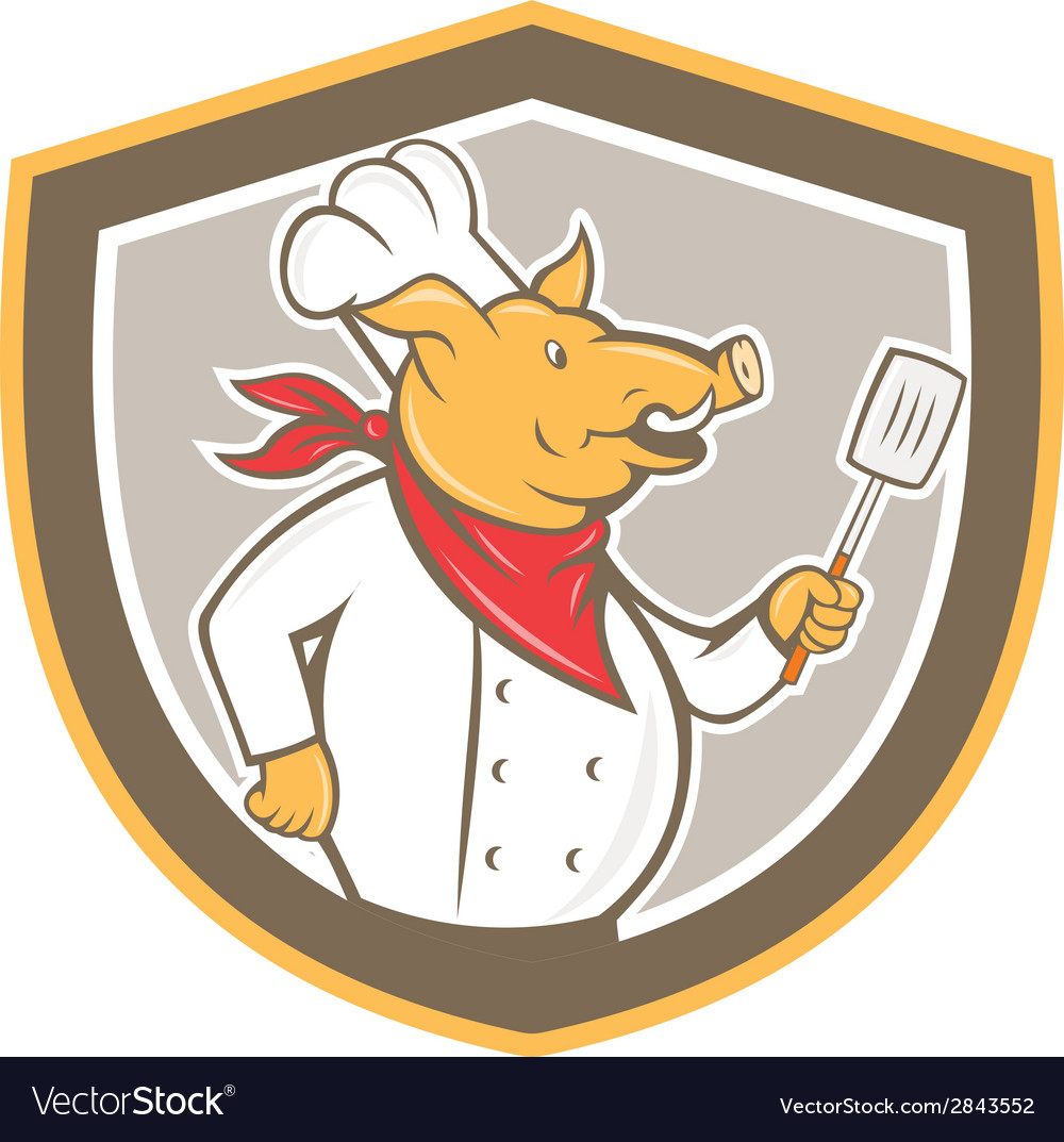 Pig chef cook holding spatula shield cartoon vector   Price: 1 Credit (USD $1)