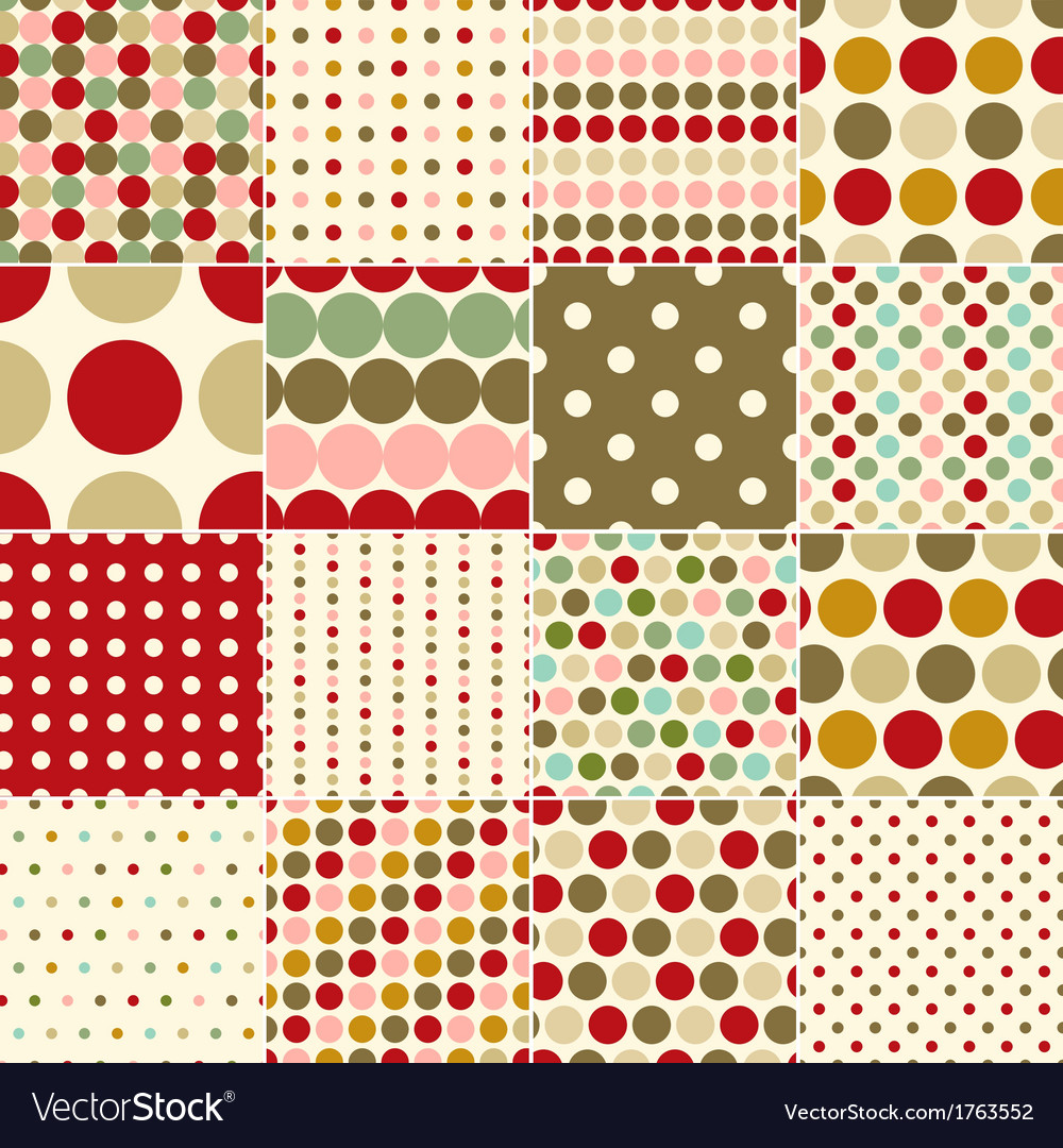 Seamless christmas polka dots pattern vector | Price: 1 Credit (USD $1)