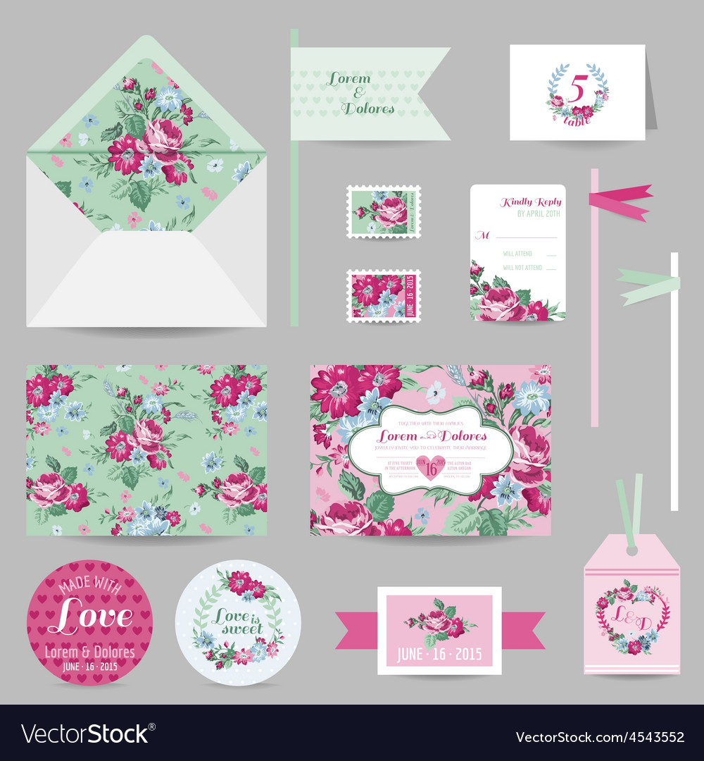 Set of wedding stationary - invitation card rsvp vector | Price: 1 Credit (USD $1)