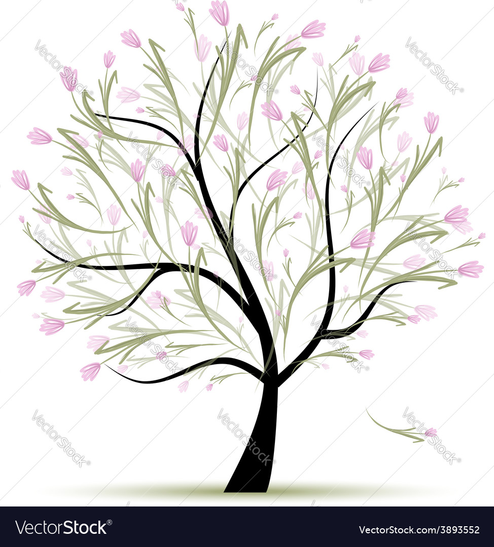 Spring tree floral for your design vector | Price: 1 Credit (USD $1)
