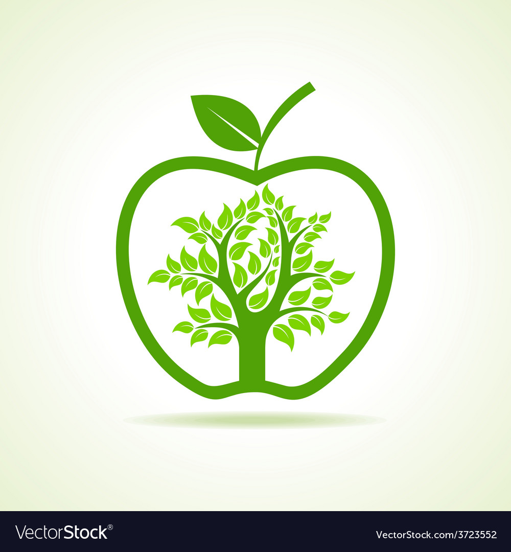 Tree inside the apple vector | Price: 1 Credit (USD $1)