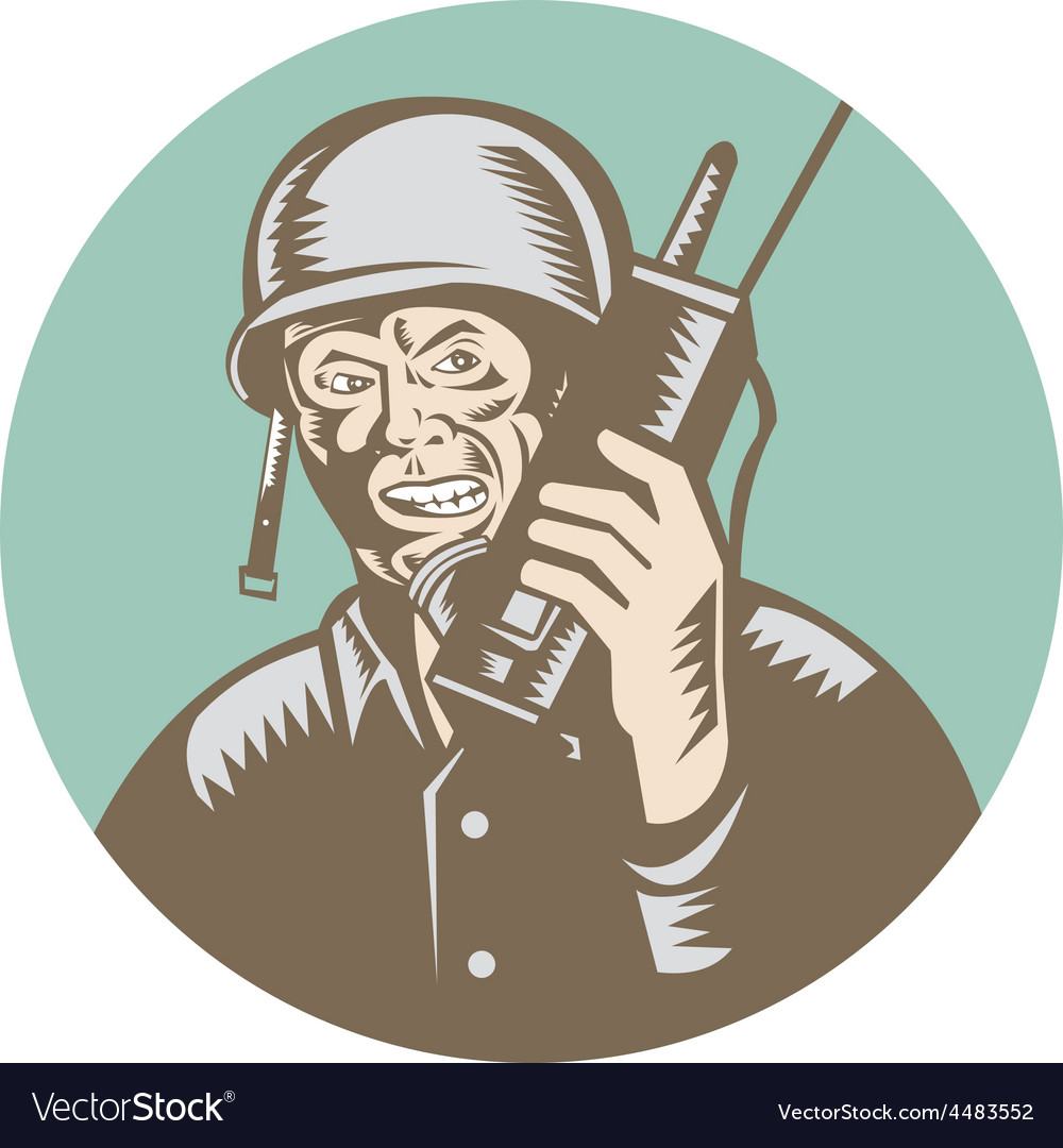 World war two soldier american talk radio circle vector | Price: 1 Credit (USD $1)