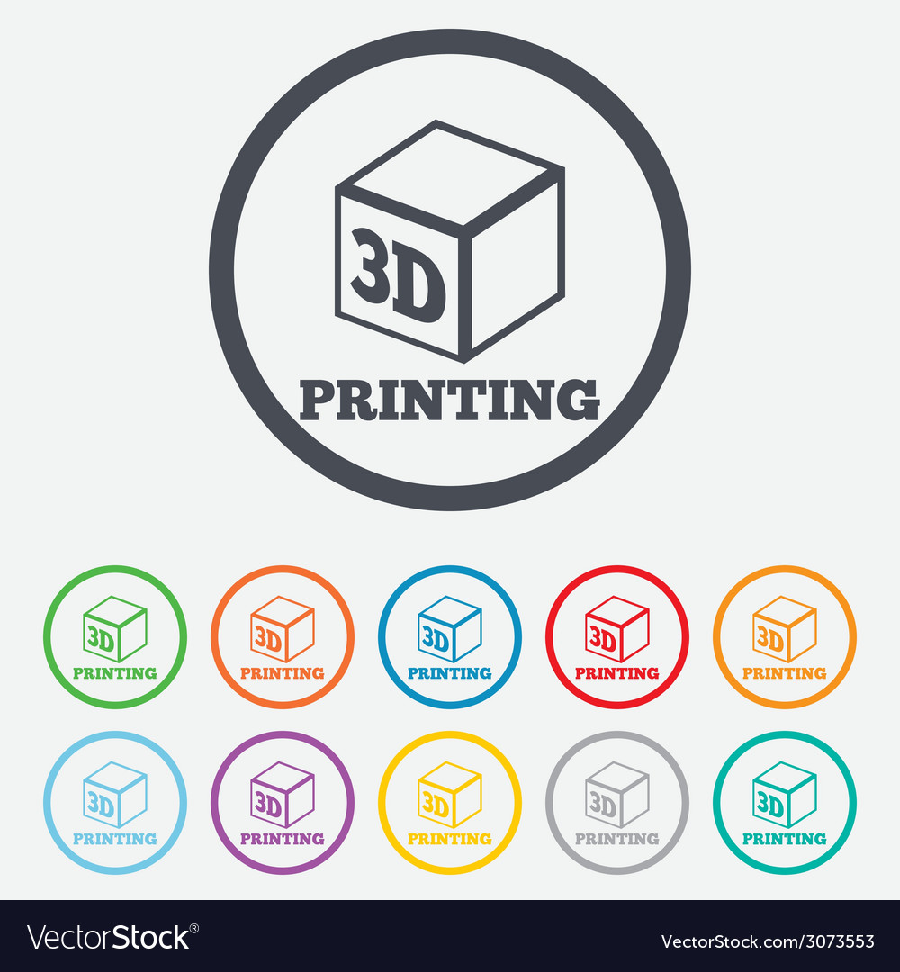3d print sign icon 3d cube printing symbol vector | Price: 1 Credit (USD $1)