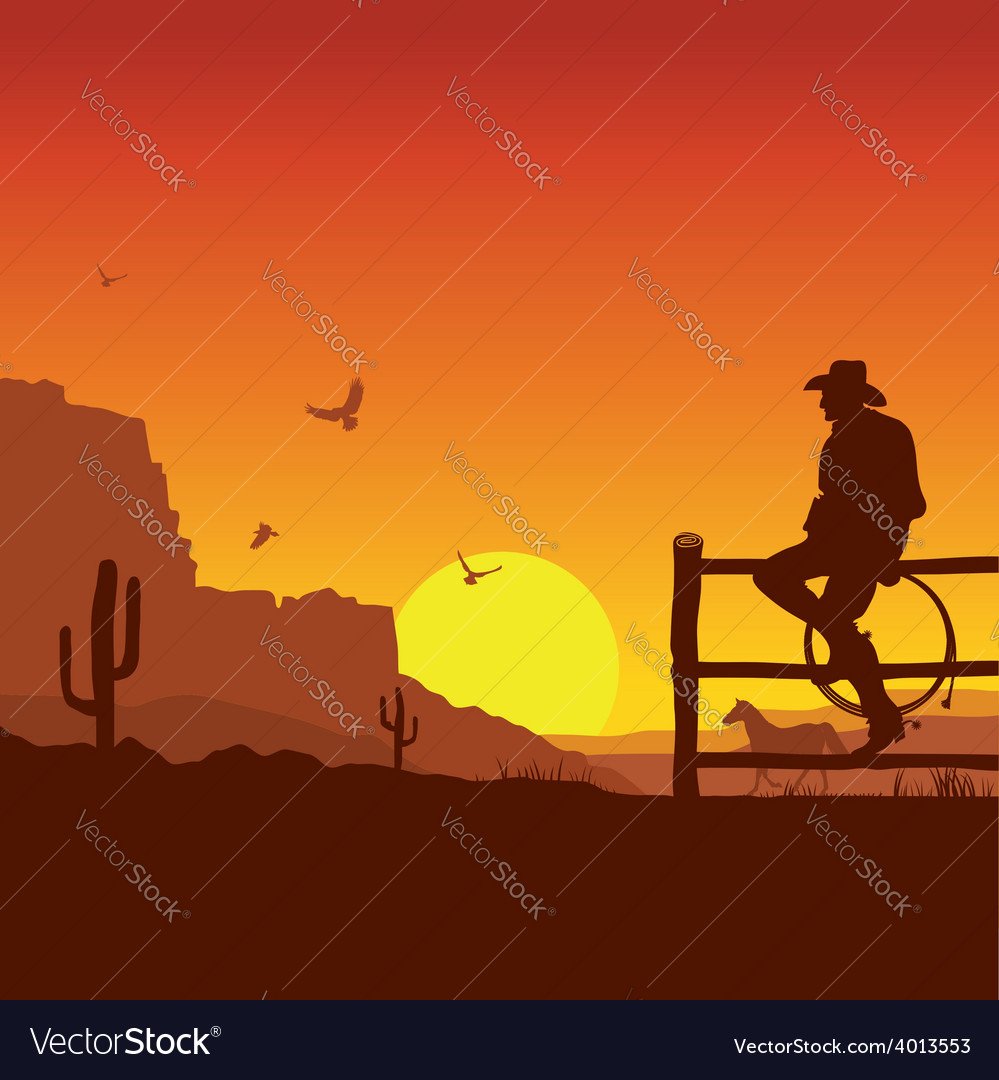 American cowboy on wild west sunset landscape in vector | Price: 1 Credit (USD $1)