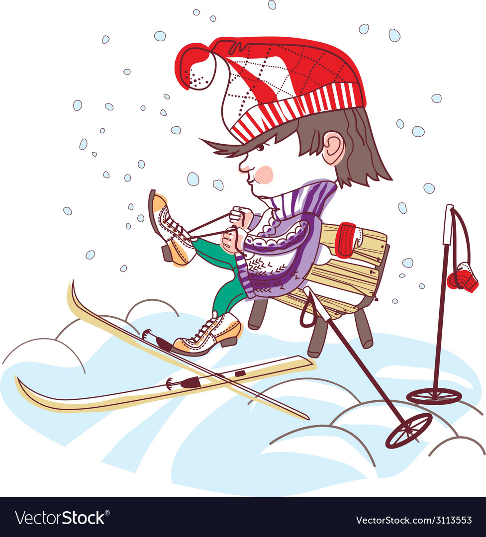 Boy putting on skis vector   Price: 1 Credit (USD $1)