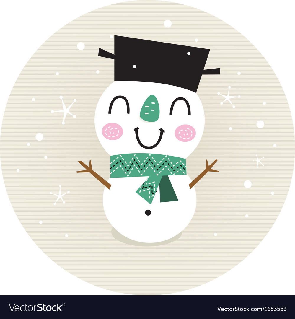 Cute retro snowman boy in circle isolated on beige vector | Price: 1 Credit (USD $1)