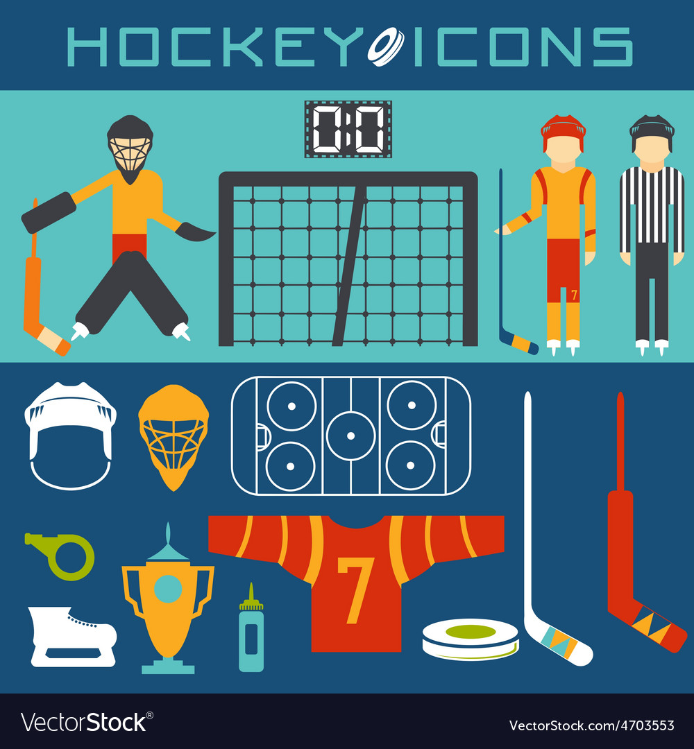 Flat design icons of hockey vector   Price: 1 Credit (USD $1)