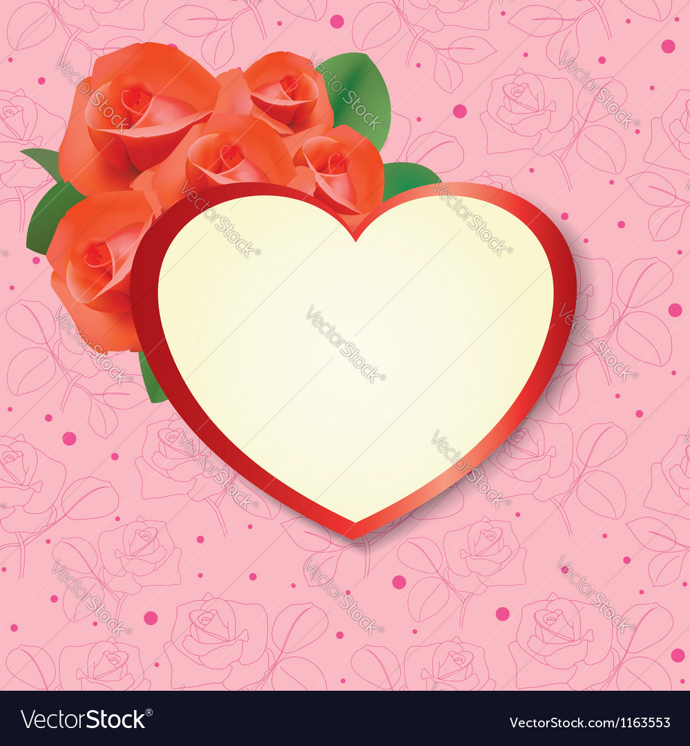 Heart with roses on pink background - card vector | Price: 1 Credit (USD $1)