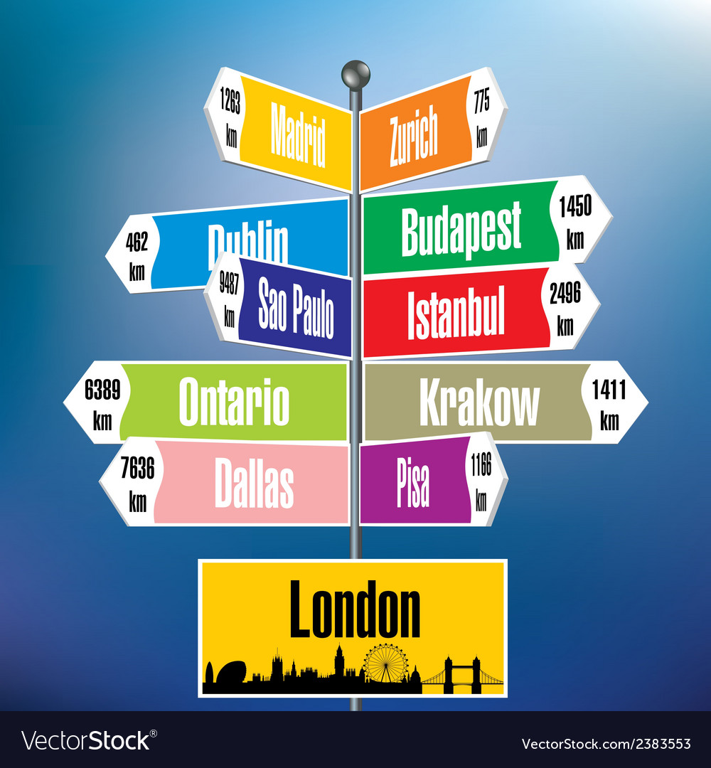 London signpost with cities and distances vector | Price: 1 Credit (USD $1)