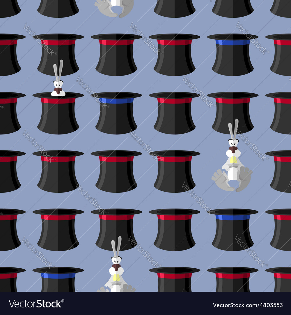 Rabbit in hat seamless pattern background for vector | Price: 1 Credit (USD $1)