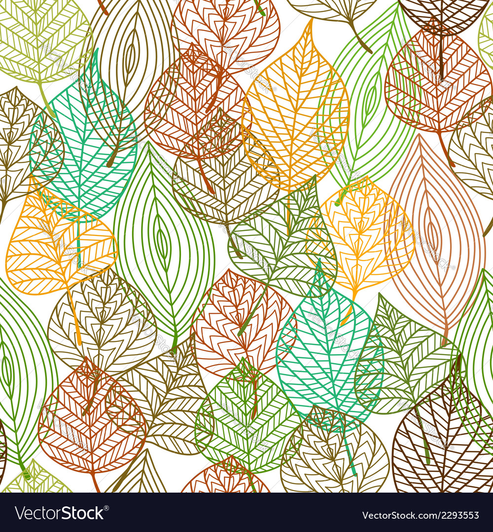 Seamless pattern of autumnal leaves vector | Price: 1 Credit (USD $1)