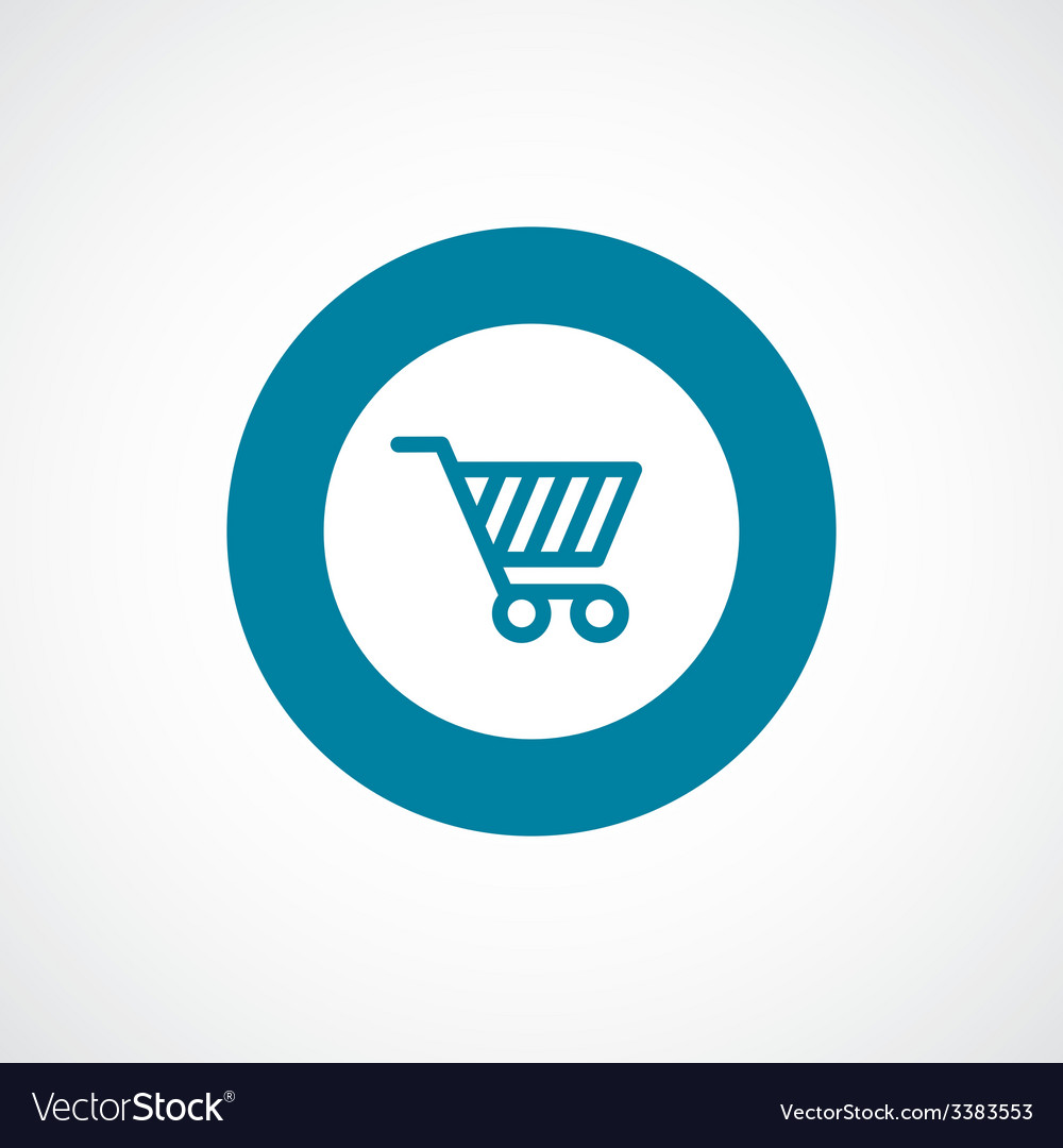 Shopping cart bold blue border circle icon vector | Price: 1 Credit (USD $1)