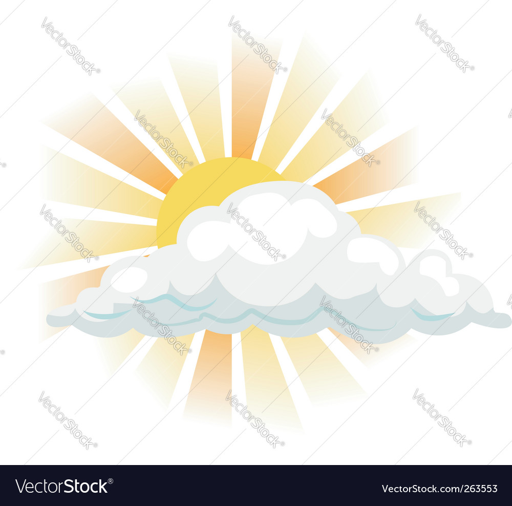Sun and cloud illustration vector | Price: 1 Credit (USD $1)