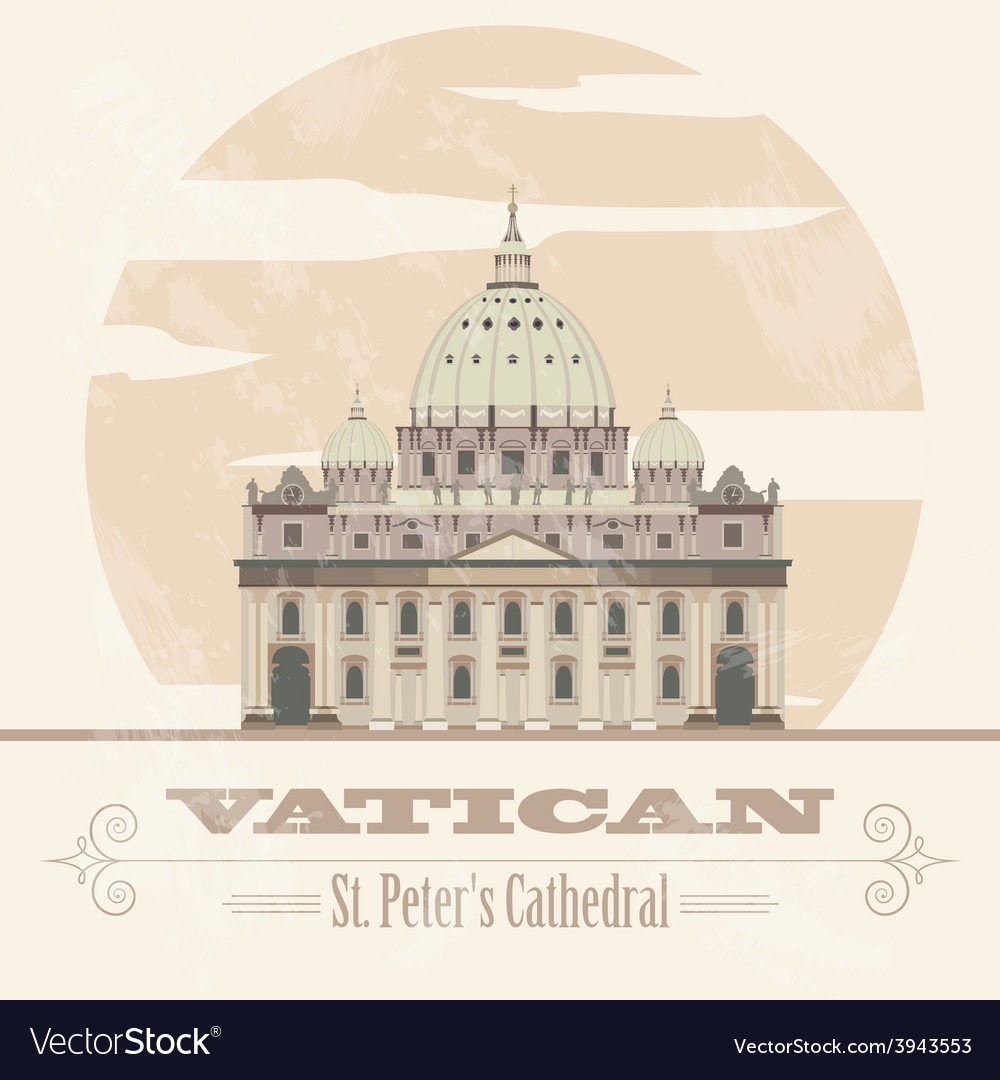 Vatican landmarks retro styled image vector | Price: 1 Credit (USD $1)