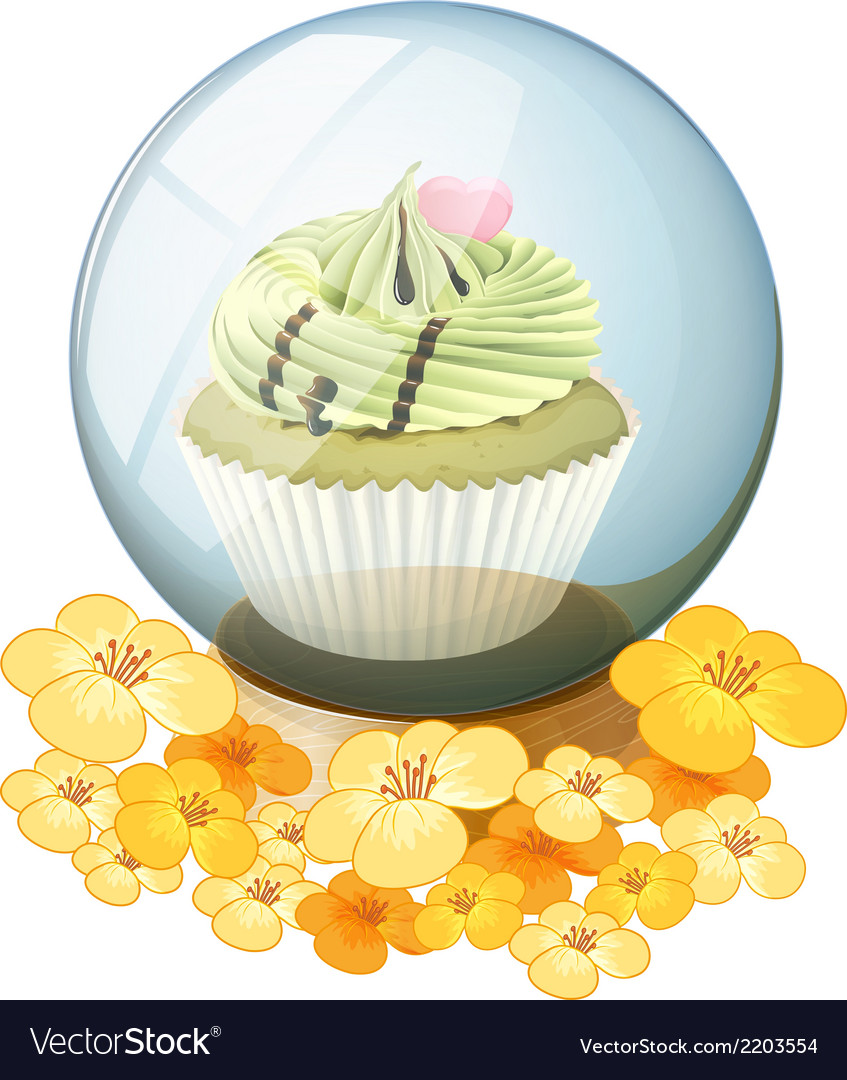 A crystal ball with a cupcake vector | Price: 1 Credit (USD $1)