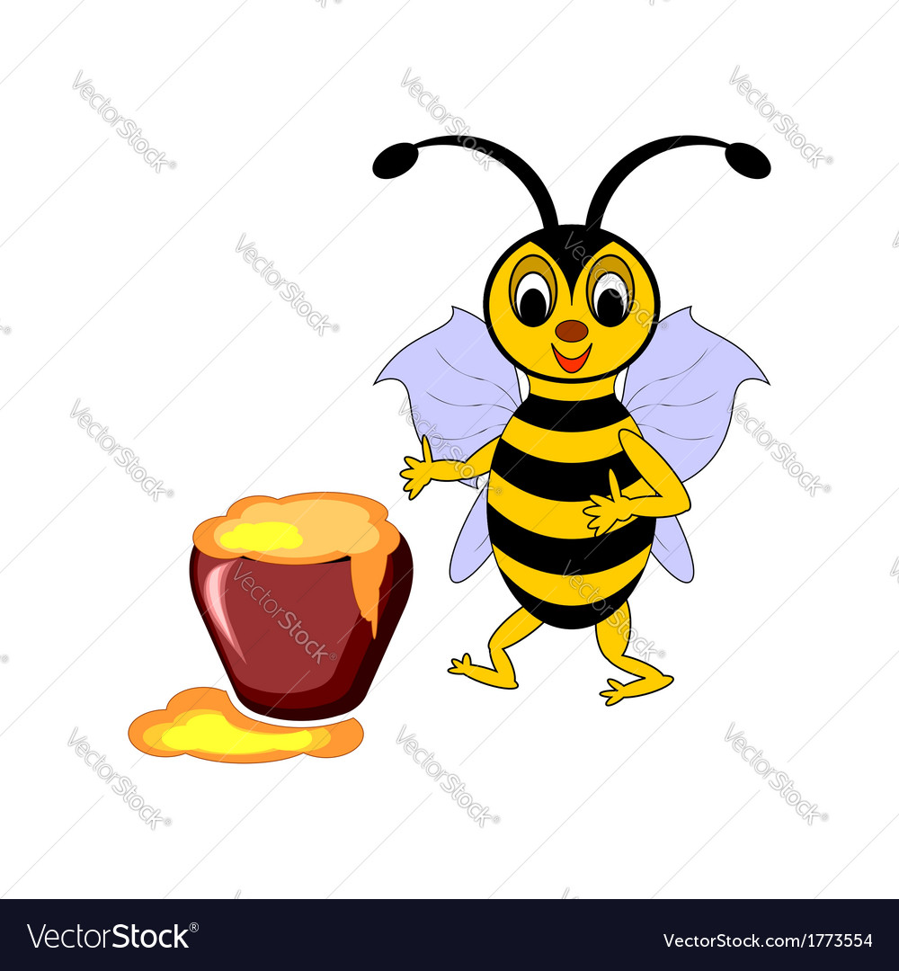 A funny cartoon bee with a pot of honey vector | Price: 1 Credit (USD $1)
