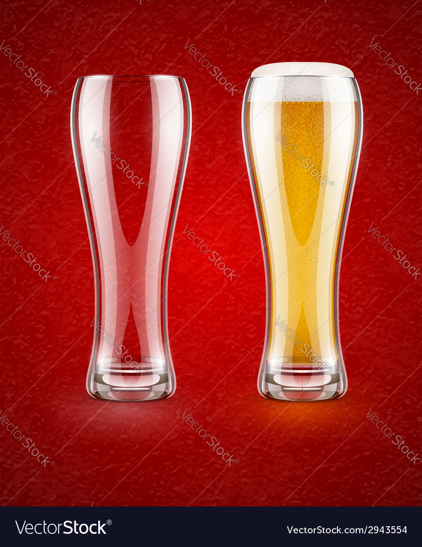 Beer with froth in the glass vector | Price: 1 Credit (USD $1)