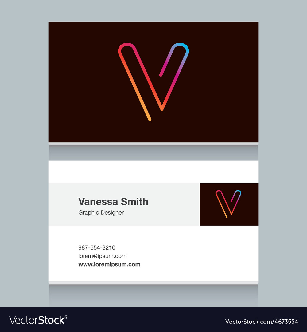 Business card letter v vector | Price: 1 Credit (USD $1)