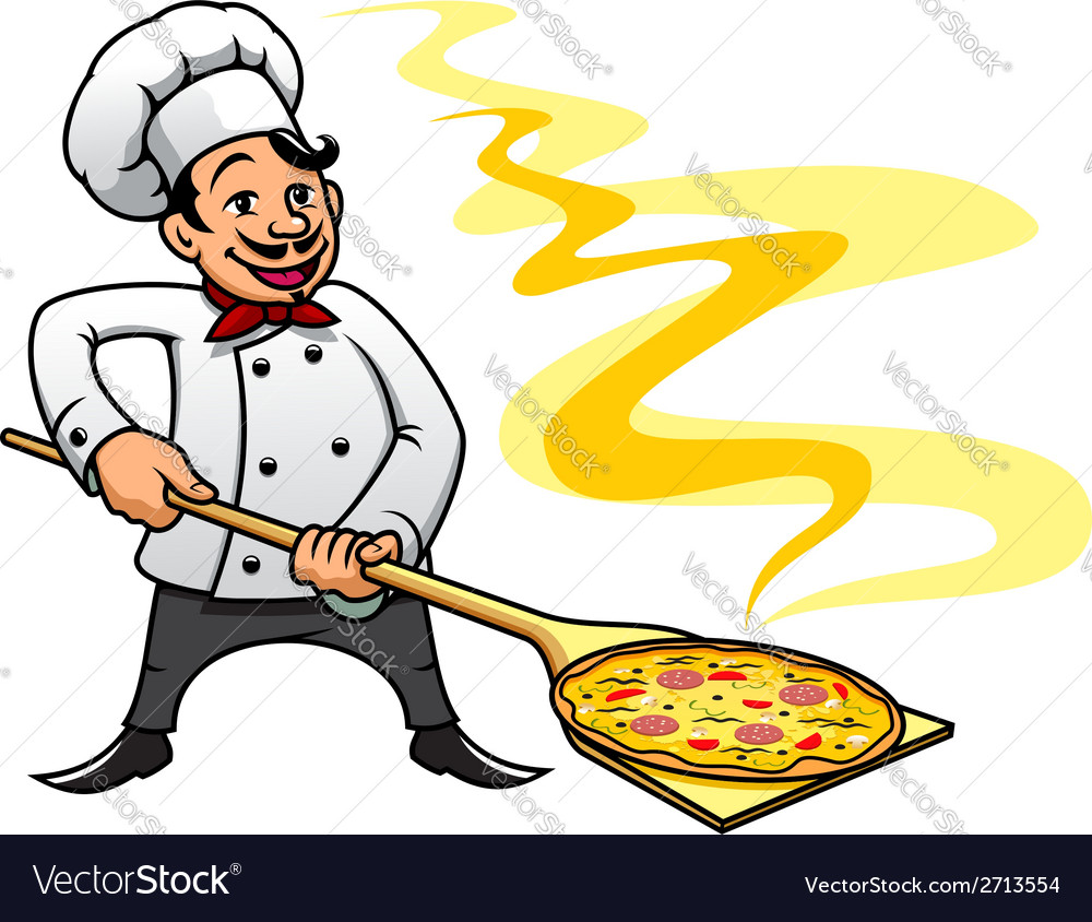Cartoon baker chef cooking pizza vector | Price: 1 Credit (USD $1)